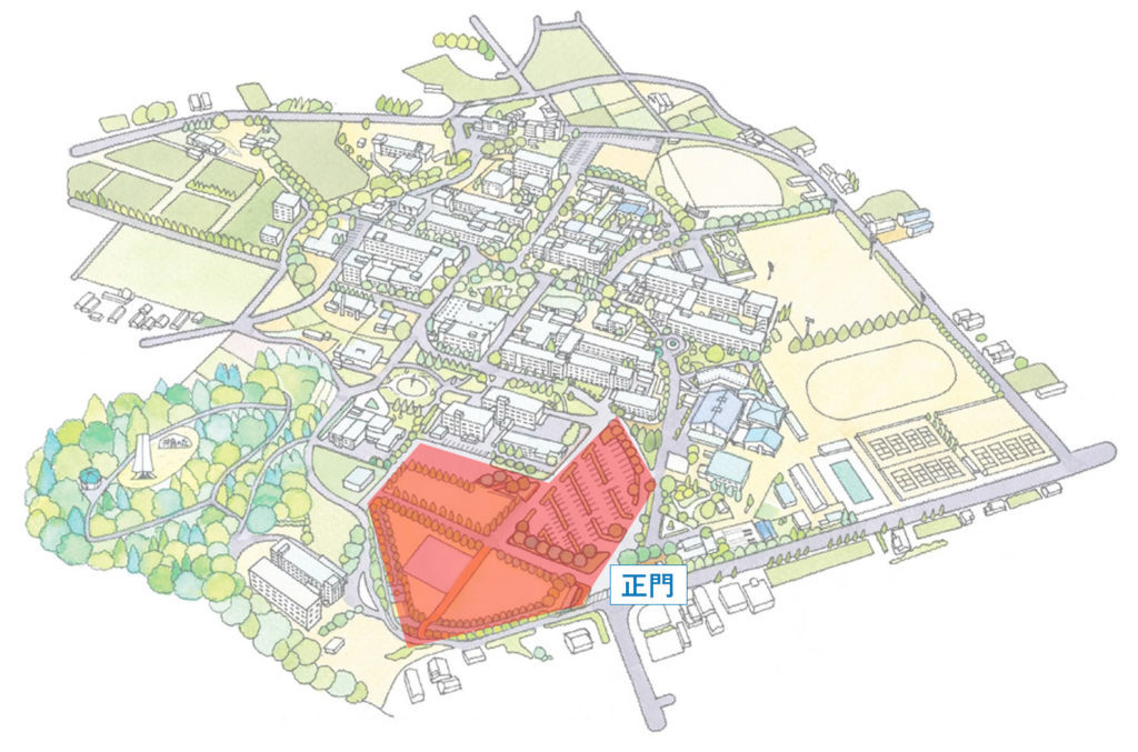 山口大学を俯瞰したイラスト。駐車場の位置を図示している。