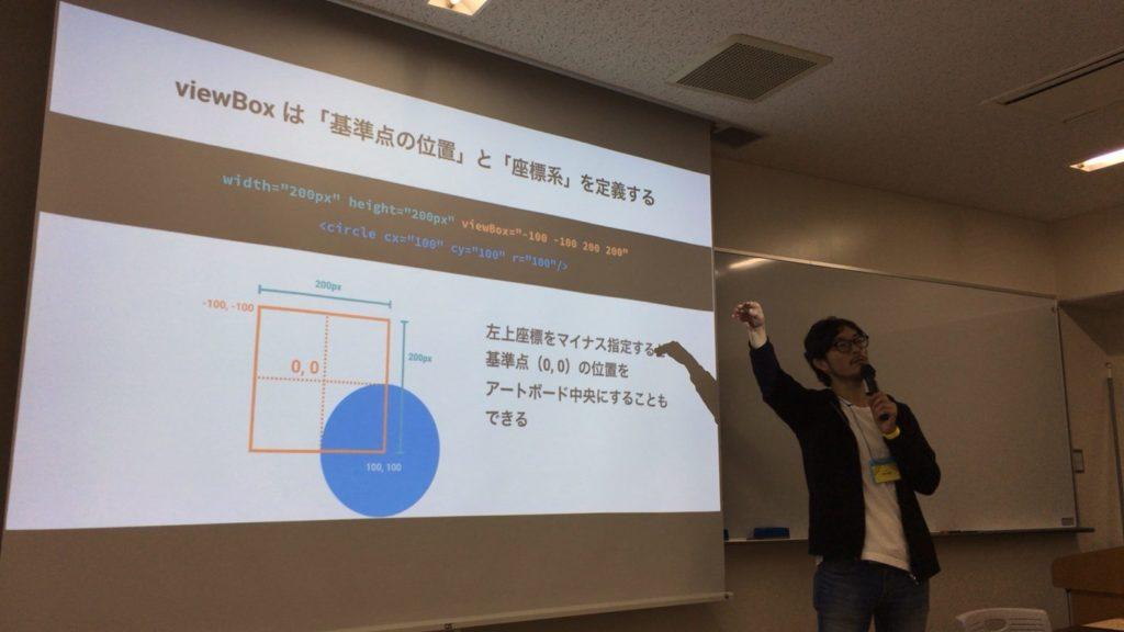 写真:『viewBoxは「基準点の位置」と「座標系」を定義する』というスライドを説明中の松田さん。