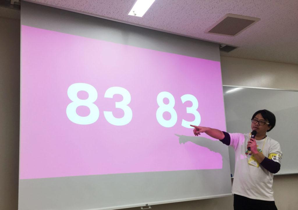 写真:ユニバーサルデザイン書体とそうでない書体で「83」という文字を表示している。